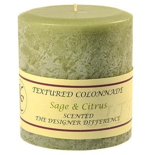 1 Pc Textured 4x4 Sage and Citrus Pillar Candles 4 in. diameterx4.25 in. tall