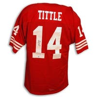 Autographed YA Tittle New York 49ers Throwback Red Jersey