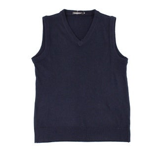 COODRONY NEW Blue Mens Size Large L Rib-TrimV-Neck Sweater Knit Vest