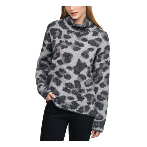 DKNY Womens Gray Printed Long Sleeve Turtle Neck Sweater Size S