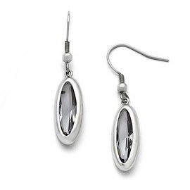 Chisel Stainless Steel Polished Glass Oval Shepherd Hook Dangle Earrings