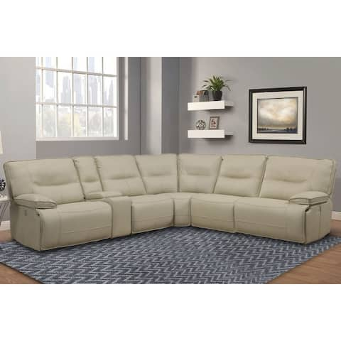 Q-Max 6-Piece Power Reclining Sectional With USB Ports Cup Holders And Power Headrest