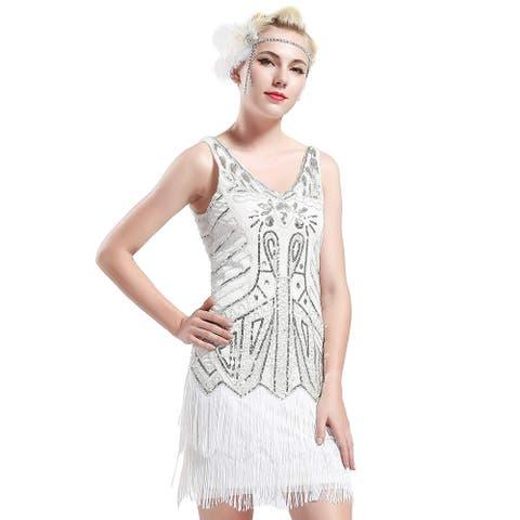 BABEYOND Women's Flapper Dresses 1920s V Neck Beaded Fringed, White, Size Small