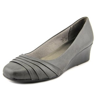Life Stride Gains Women Open Toe Leather Gray Wedge Heel