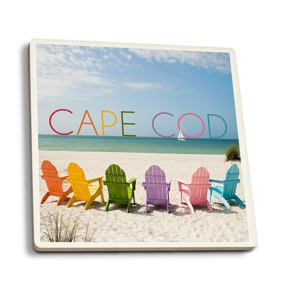 Cape Cod Ma Colorful Beach Chairs Lp Photography Set Of 4 Ceramic Coasters