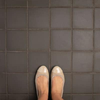 "SomerTile Klinker Chocolate Black 6"" x 6"" Ceramic Floor and Wall Quarry Tile"