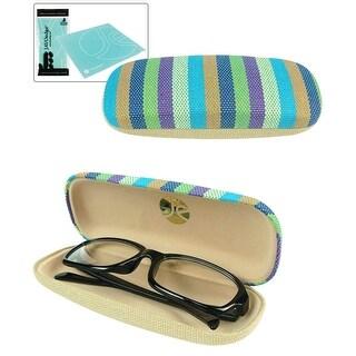 JAVOedge Strips Pattern Eyeglass / Reading Glass Clamshell Hard Case and Bonus Microfiber Cleaning Cloth - Blue