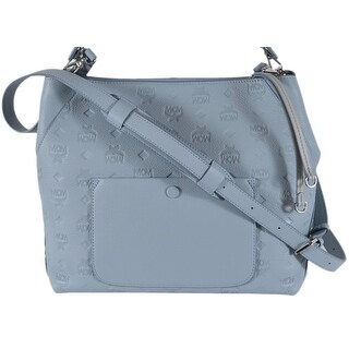 MCM Women's Sky Blue Leather Visetos Logo KLARA Large Purse Handbag Hobo - Sky Blue