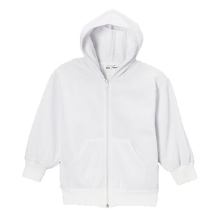 Boys Girls White Front Pockets Zippered Basic Hoodie School Jacket 8-18 (Option: 14)