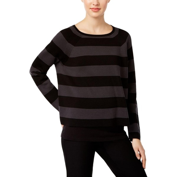 5a4a255e31a Shop Eileen Fisher Womens Crop Sweater Silk Striped - Free Shipping Today -  Overstock - 20891325