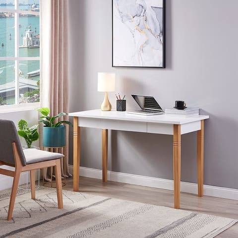 White Wood Writing Desk with 1-Drawer