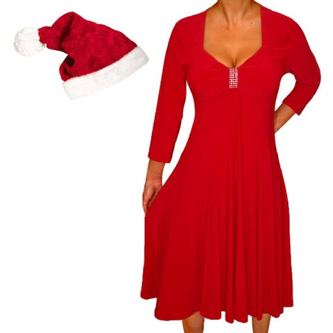 Funfash Plus Size Women Red Holiday Season Christmas Santa Hat Dress
