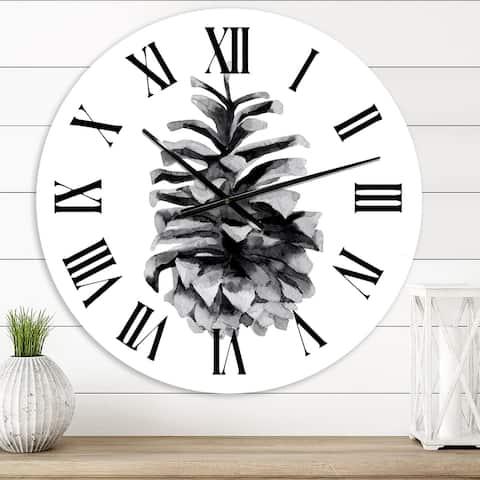 Designart 'Conifer Cone Monochrome' Traditional wall clock