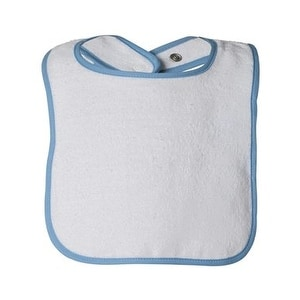Rabbit Skins Infant Contrast Trim Terry Bib - Light Blue - One Size