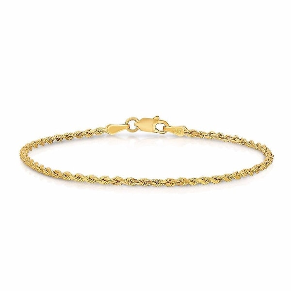 "10k Yellow Gold Hollow Rope Bracelet 7.0"" Inches 2.0 MM Mens Or Ladies"