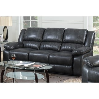 Copper Grove Tanrake Dark Grey Faux Leather Dual Reclining Sofa