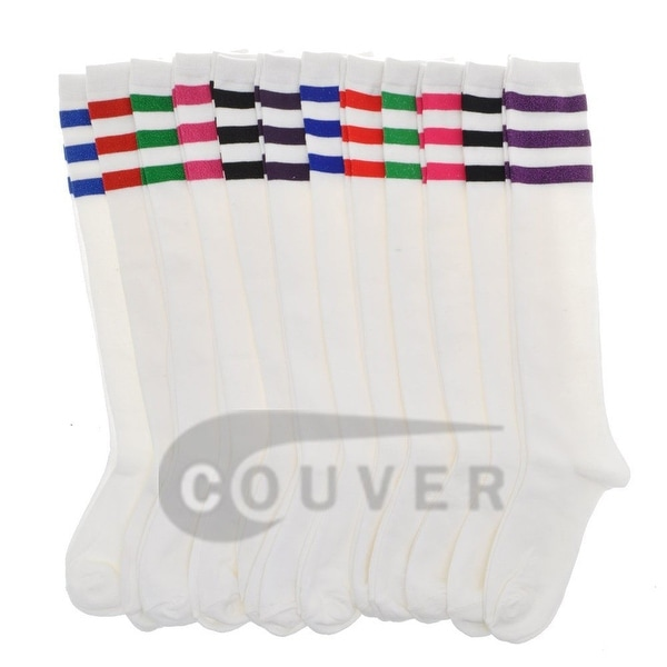 Cotton Referee Knee High Socks White with Triple Color Stripes in 12 mixed colors