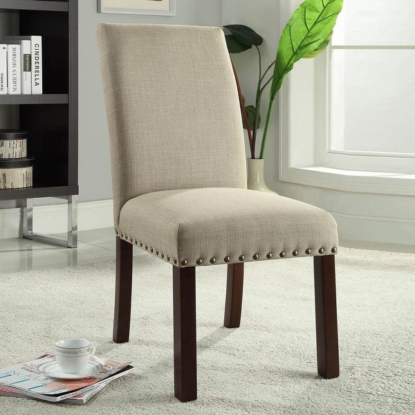 HomePop Linen Tan Nail Head Parsons Chairs (Set of 2) - N/A. Opens flyout.