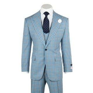 Tiglio Rosso Luca Light Blue with Dark Blue and White Plaid Wide Leg, Pure Wool Suit & Vest T96307/87/1