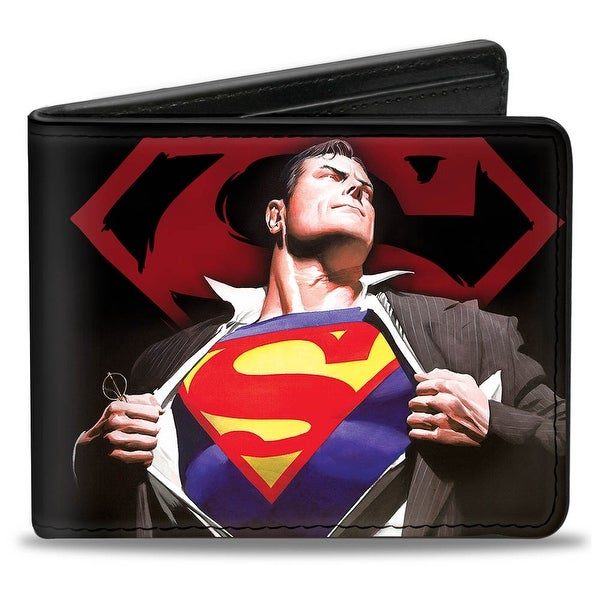 Superman Forever Clark Kent Superman Transition Shield Black Red Bi Fold Bi-Fold Wallet One Size - One Size Fits most