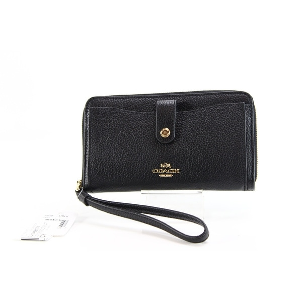 Coach NEW Black Gold Phone Wallet Wristlet Polished Pebble Leather
