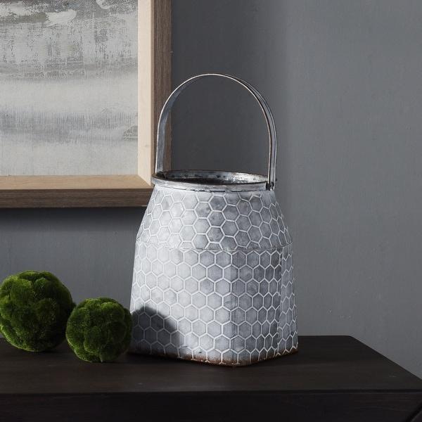 StyleCraft Short Hive Pattern Milk Pail Galvanized Metal Vase with Handle. Opens flyout.