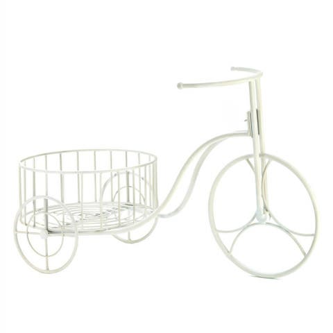 White Tricycle Metal Plant Holder