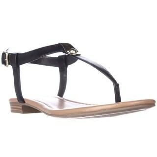 SC35 Baileyy T-Strap Flat Sandals - Black