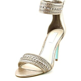 Betsey Johnson Womens SB CHARM Leather Open Toe Ankle Strap Classic Pumps