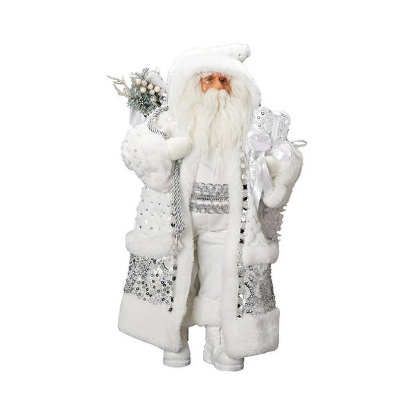 "18"" Metallic Silver and White Snowflake Santa Christmas Table Top Figure"