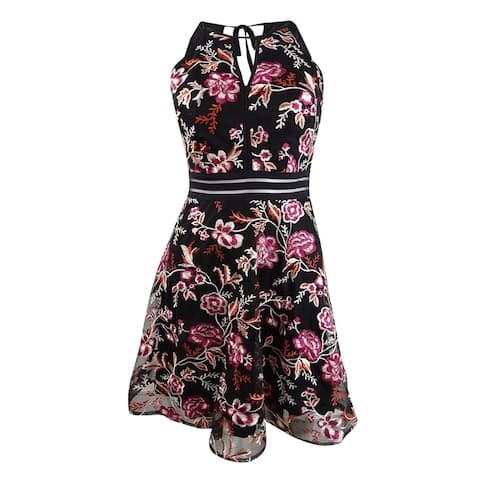 BCX Trendy Plus Size Embroidered Illusion Fit & Flare Dress