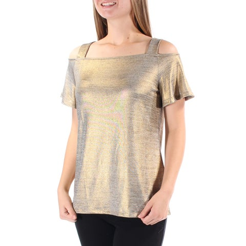 Womens Gold Short Sleeve Square Neck Casual Tunic Top Size S