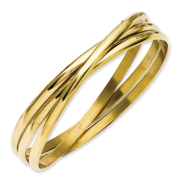 Stainless Steel Gold-plated Intertwined Bangles