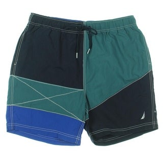 Nautica Mens Heritage Colorblock Built In Brief Swim Trunks