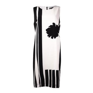 Vince Camuto Women's Flower Print Stripe Dress (12, New Ivory) - 12