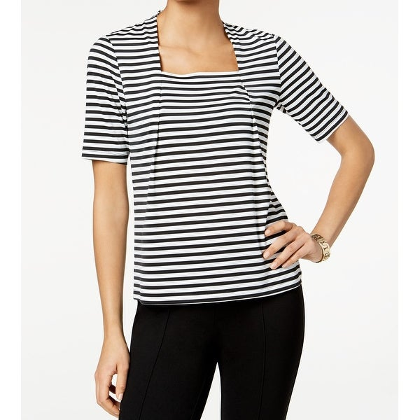 6e61efc4cc30 Shop Kasper Black White Womens Size Large L Striped Square-Neck Blouse - On  Sale - Free Shipping On Orders Over  45 - Overstock - 27331328