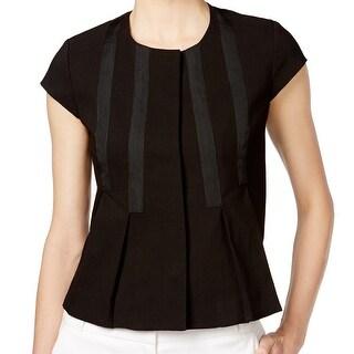 Nine West NEW Black Women's Size 10 Short Sleeve Pleated Jacket