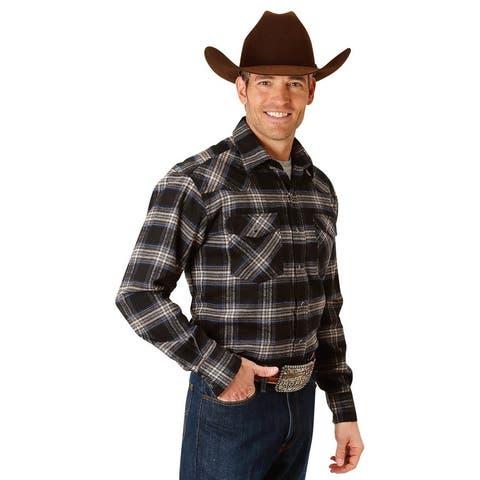 Roper Western Shirt Men Flannel L/S Plaid Black