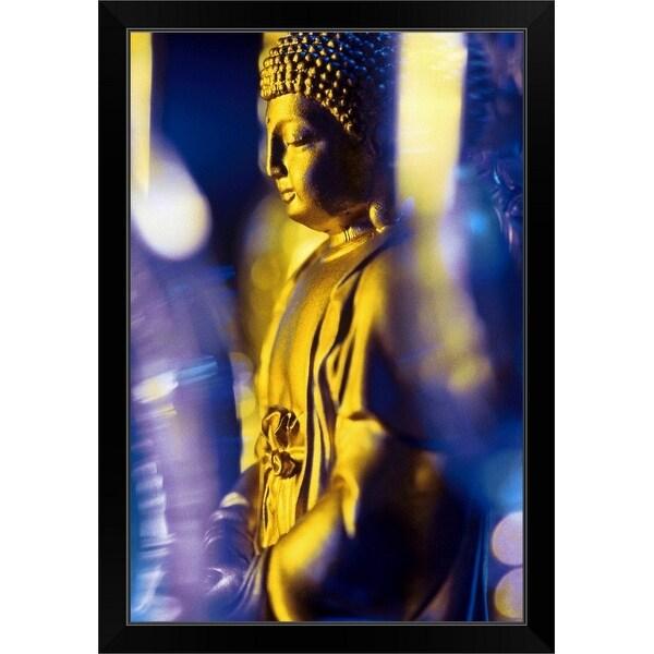 """Golden Buddha statue"" Black Framed Print"