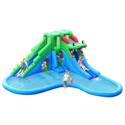 Costway Inflatable Water Park Bouncer Dual Slide Climbing Wall Without - Blue/Green/Red
