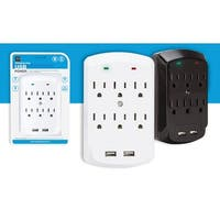 6-Wall Outlet with 2 USB Ports - Power Plug Surge Protector