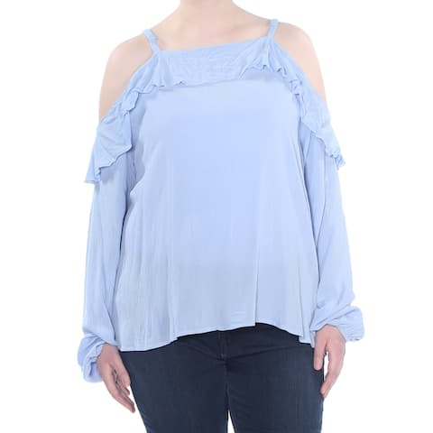 AMERICAN RAG Womens Blue Ruffled Cold Shoulder Long Sleeve Top Plus Size: 3X
