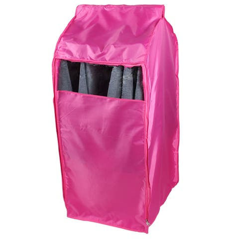 Oxford Cloth Zippered Clothing Protector Suit Cover Bag Fuchsia 80 x 50 x 54cm