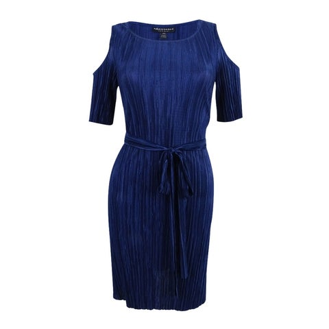 Connected Women's Petite Cold-Shoulder Belted Dress - Dark Navy