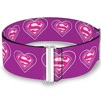 Superman Logo In Heart Purple White Pink Cinch Waist Belt   ONE SIZE