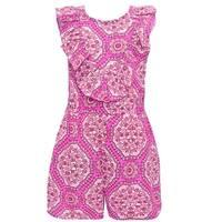 Bonnie Jean Little Girls Fuchsia Ruffle Floral Print Sleeveless Romper