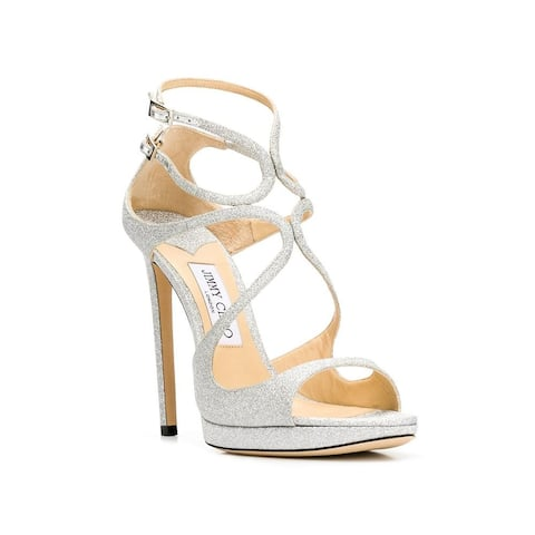 JIMMY CHOO Women's Glitter Leather Lance High Heel Sandal Shoes Silver