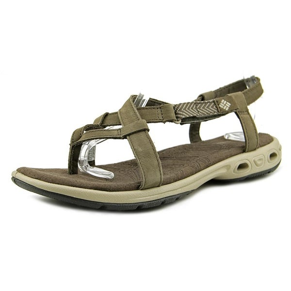 Columbia Abaco Vent Women Open-Toe Leather Brown Slingback Sandal