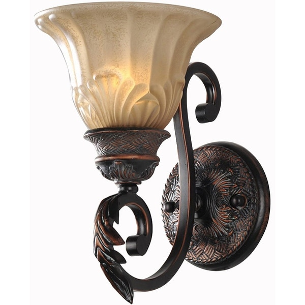Antique Finish Iron Wall Sconce Lighting Glass Shade