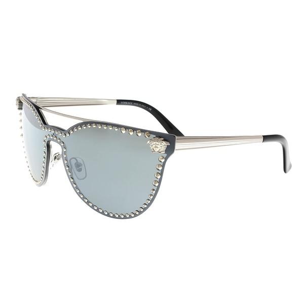 efa93b82c1c Versace VE2177 10006G Silver Grey Mirror Cat Eye Sunglasses - 45-16-140.  Click to Zoom